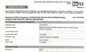 新加坡商业局注册证